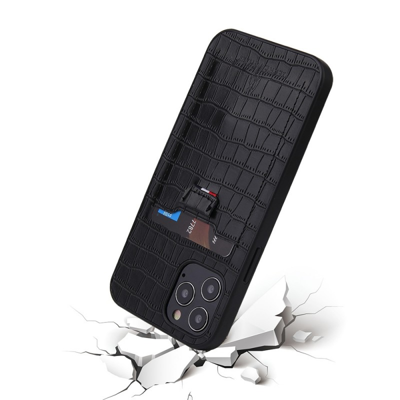 Mobiq Croco Wallet Back Cover iPhone 12 6.1 Zwart - 5