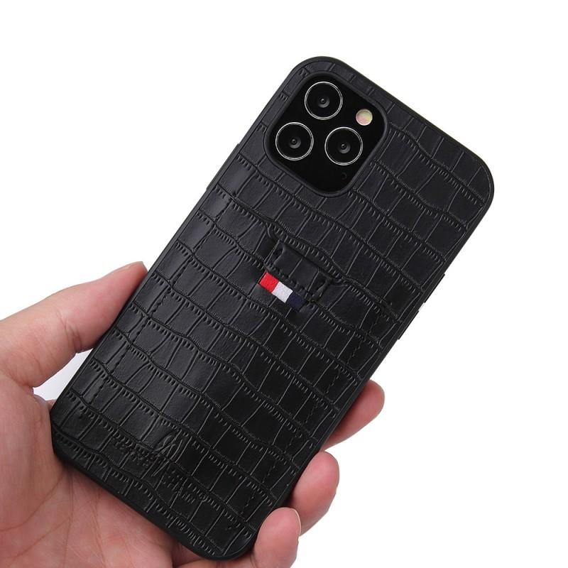 Mobiq Croco Wallet Back Cover iPhone 12 Mini Zwart - 2