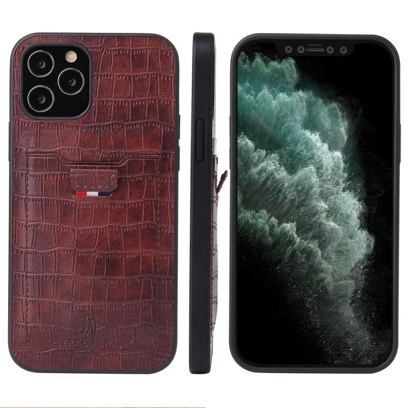 Mobiq Croco Wallet Back Cover iPhone 12 Pro Max Bruin - 4