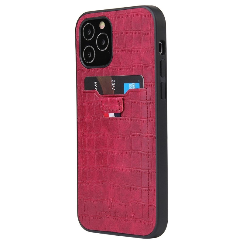Mobiq Croco Wallet Back Cover iPhone 12 Pro Max Rood - 1