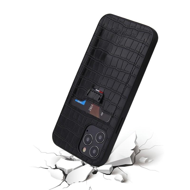 Mobiq Croco Wallet Back Cover iPhone 12 Pro Max Zwart - 2