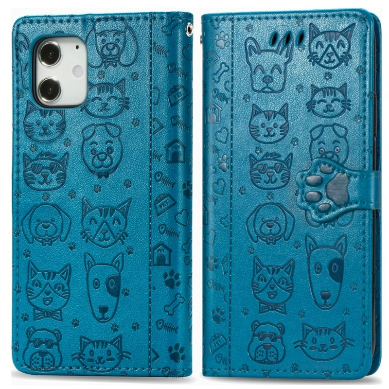 Mobiq Embossed Animal Wallet Hoesje iPhone 12 Mini Blauw - 1