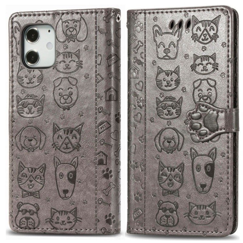 Mobiq Embossed Animal Wallet Hoesje iPhone 12 6.1 Grijs - 1