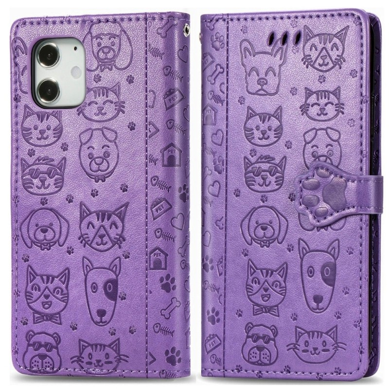 Mobiq Embossed Animal Wallet Hoesje iPhone 12 6.1 Paars - 1