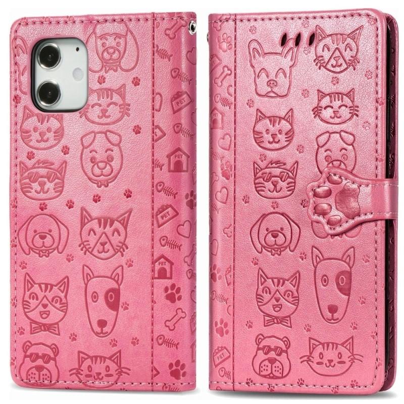 Mobiq Embossed Animal Wallet Hoesje iPhone 12 Pro Max Roze - 1