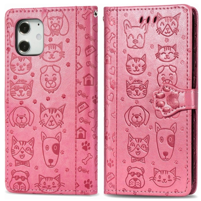 Mobiq Embossed Animal Wallet Hoesje iPhone 12 Mini Roze - 1