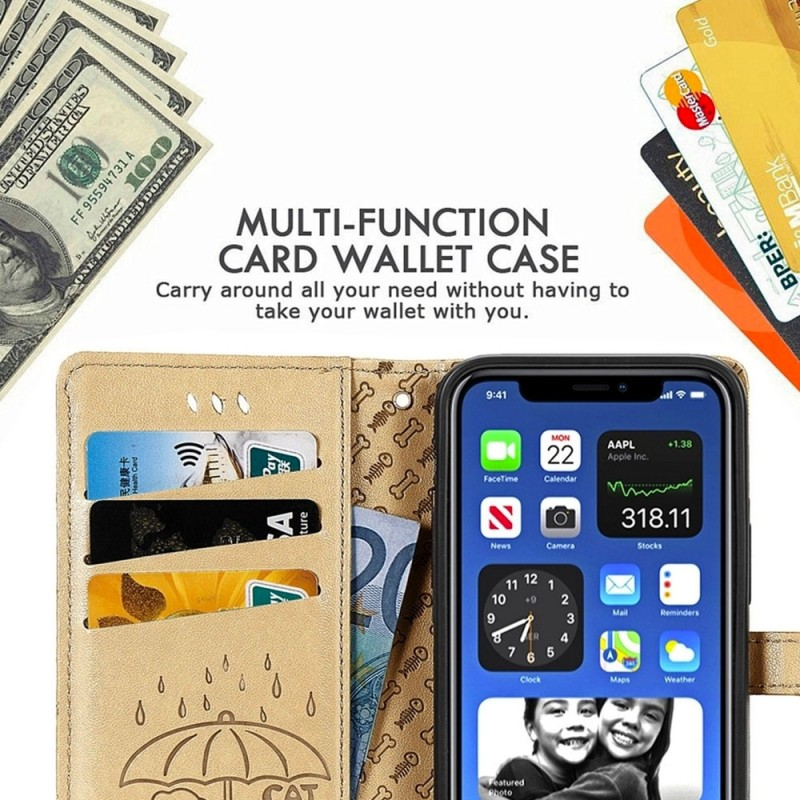 Mobiq Embossed Animal Wallet Hoesje iPhone 12 Mini Geel - 4