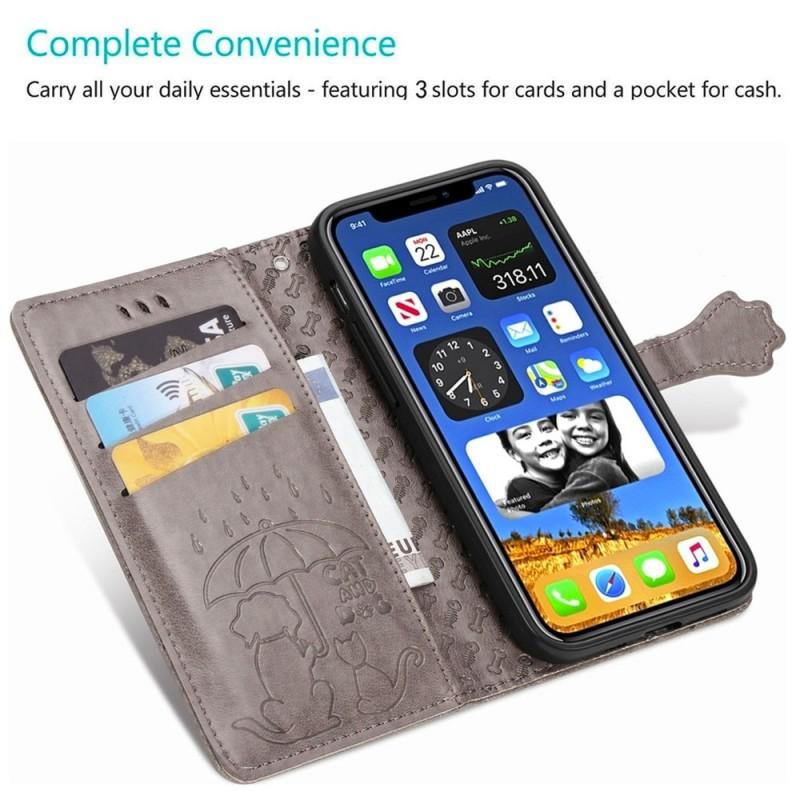 Mobiq Embossed Animal Wallet Hoesje iPhone 12 6.1 Geel - 4