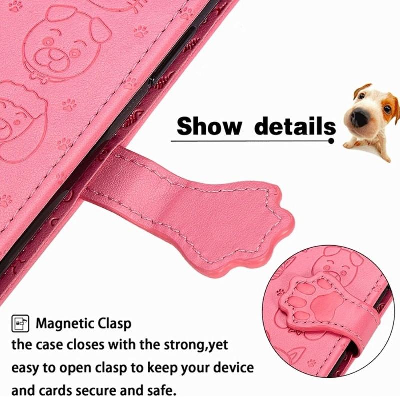 Mobiq Embossed Animal Wallet Hoesje iPhone 12 6.1 Roze - 6