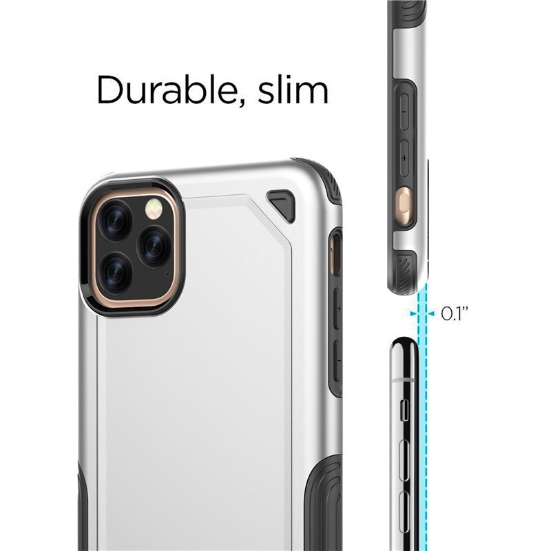 Mobiq extra beschermend armor hoesje iPhone 11 Pro zilver - 2