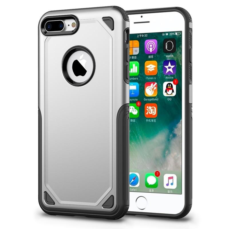 Mobiq Extra Stevig Hoesje iPhone 8 Plus/7 Plus Zilver - 1
