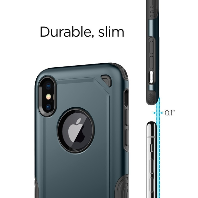 Mobiq Extra Stevig Hoesje iPhone X/XS Blauw - 5