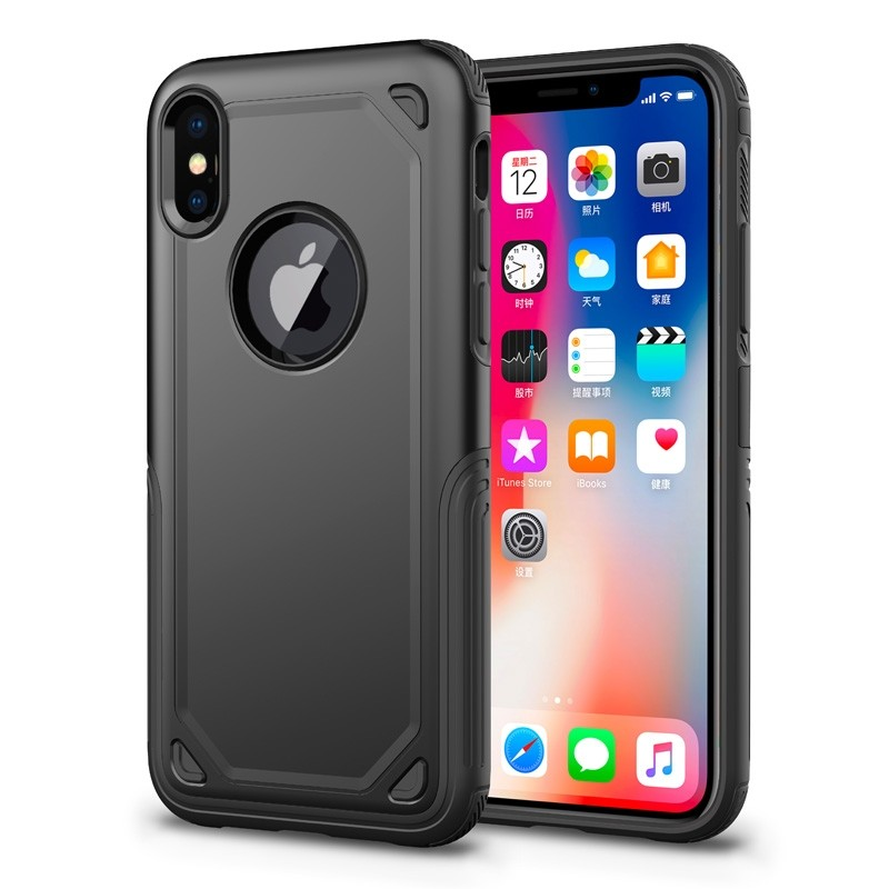 Mobiq Extra Stevig Hoesje iPhone X/XS Zwart - 1