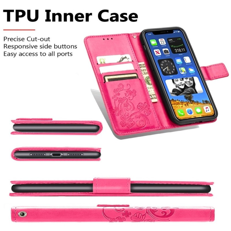 Mobiq Fashion Wallet Book Cover iPhone 12 Mini Paars - 4