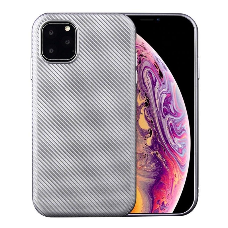 Mobiq Flexibel Carbon Hoesje iPhone 11 Pro Max Zilver - 1
