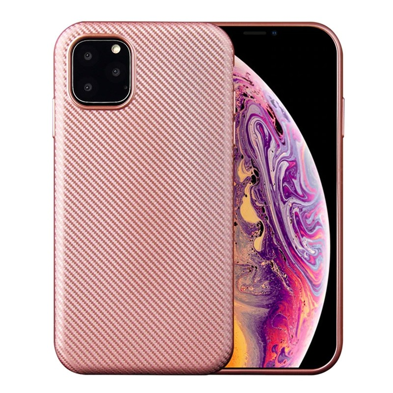 Mobiq Flexibel Carbon Hoesje iPhone 11 Roze - 1