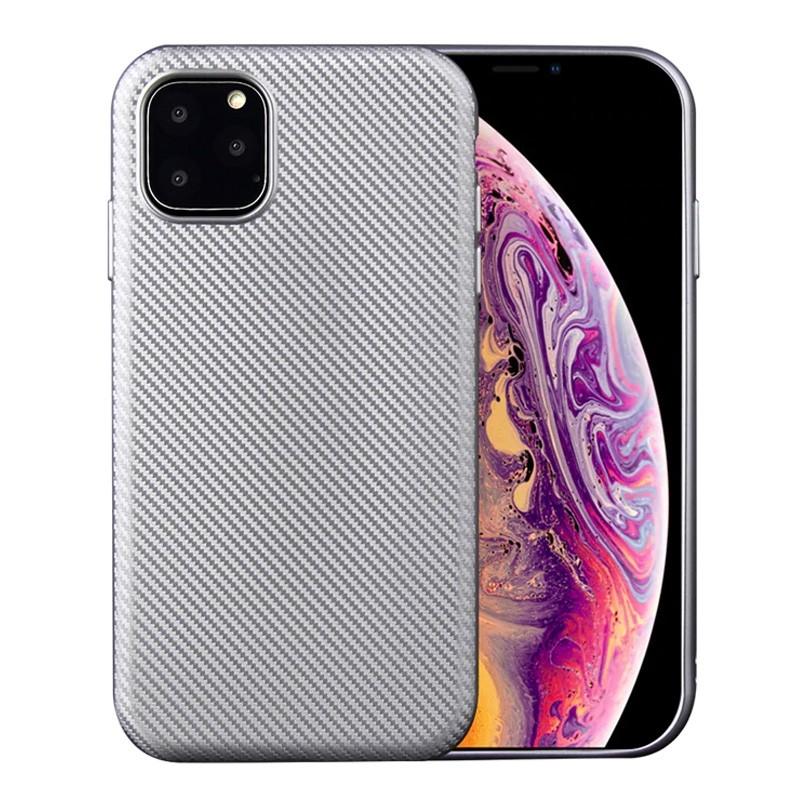 Mobiq Flexibel Carbon Hoesje iPhone 11 Zilver - 1