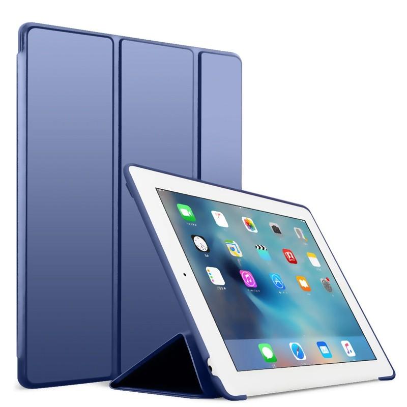 Mobiq Flexibele Tri-folio hoes iPad 9.7 2018/2017, iPad Air 2, iPad Air 1 Blauw 01