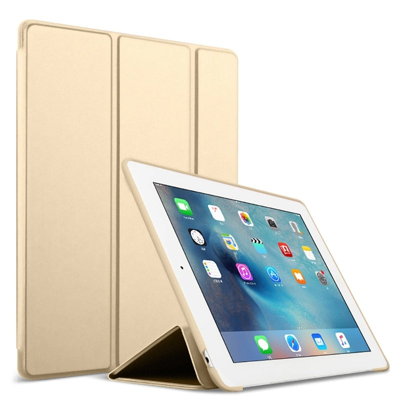 Mobiq Flexibele Tri-folio hoes iPad 9.7 2018/2017, iPad Air 2, iPad Air 1 Goud 01