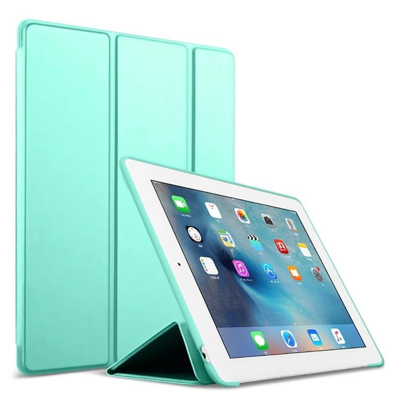Mobiq Flexibele Tri-folio hoes iPad 9.7 2018/2017, iPad Air 2, iPad Air 1 Turquoise 01