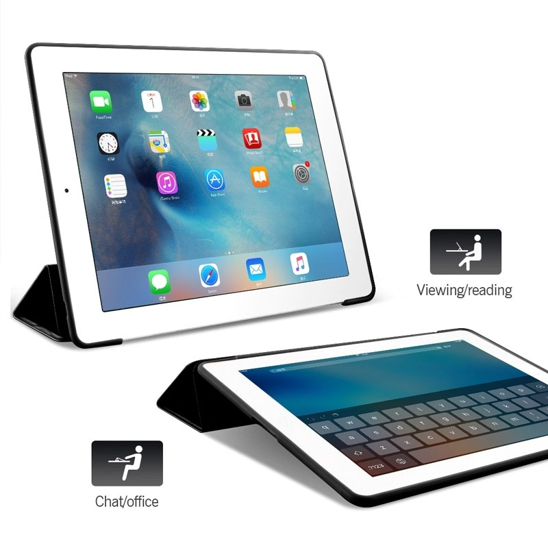 Mobiq Flexibele Tri-folio hoes iPad 9.7 2018/2017, iPad Air 2, iPad Air 1 Rood 06