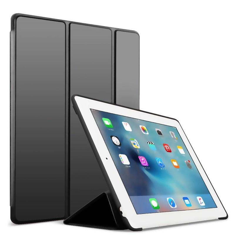 Mobiq Flexibele Tri-folio hoes iPad 9.7 2018/2017, iPad Air 2, iPad Air 1 Zwart 01