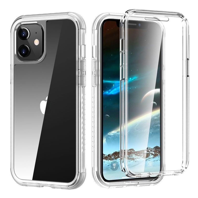 Mobiq Rugged 360 Graden Full Body Case iPhone 12 / 12 Pro 6.1 inch Transparant - 1
