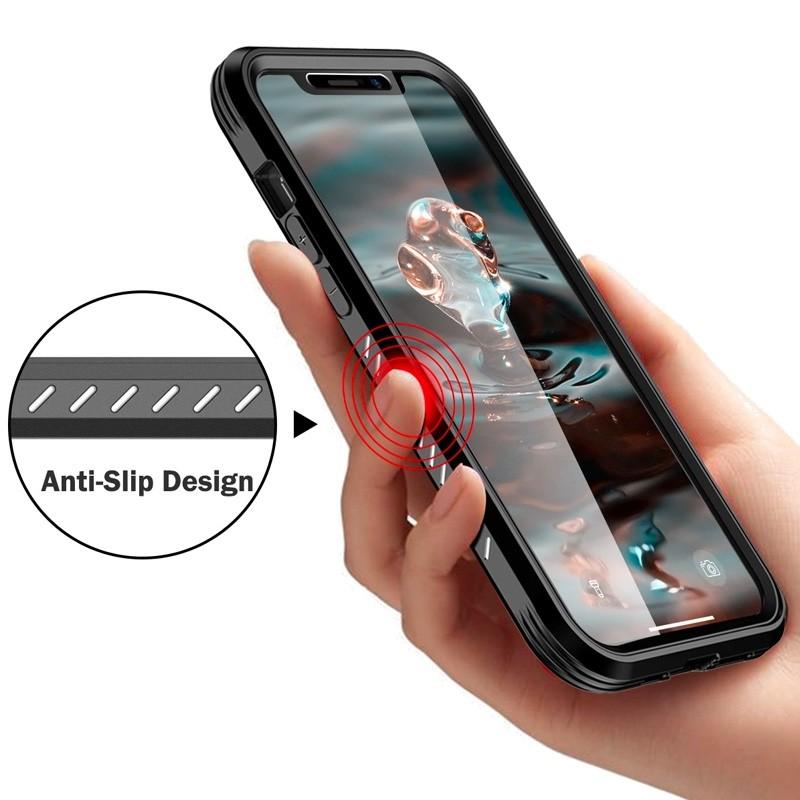 Mobiq Rugged 360 Graden Full Body Case iPhone 12 / 12 Pro 6.1 inch Zwart - 4