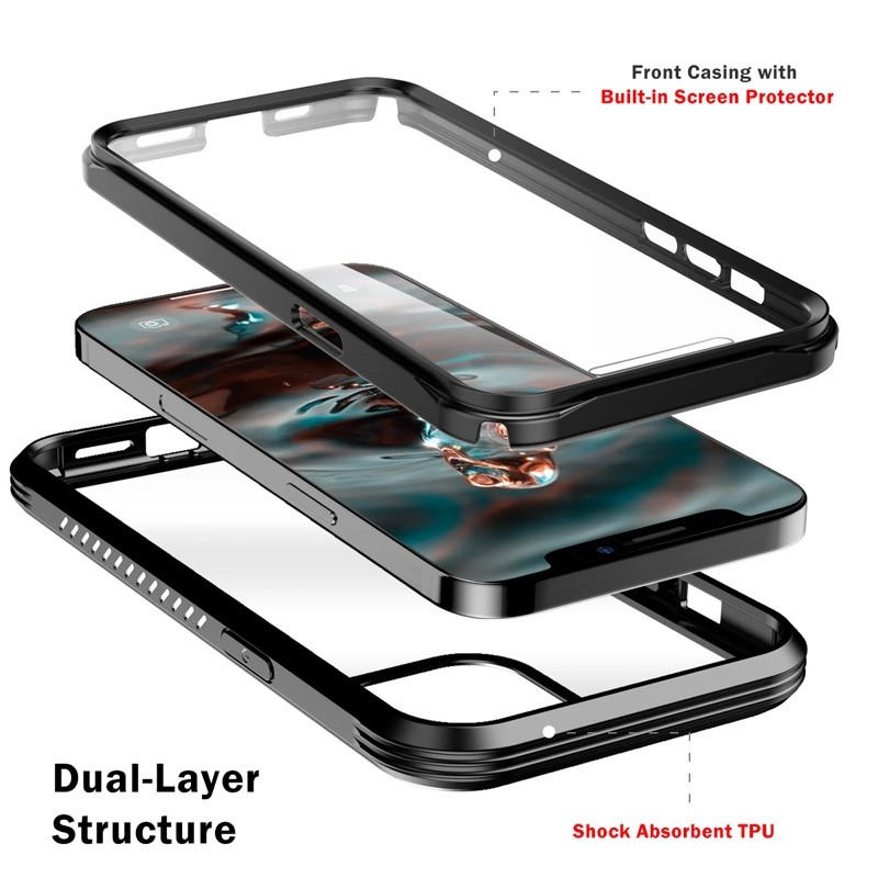 Mobiq Rugged 360 Graden Full Body Case iPhone 12 Mini Zwart - 3
