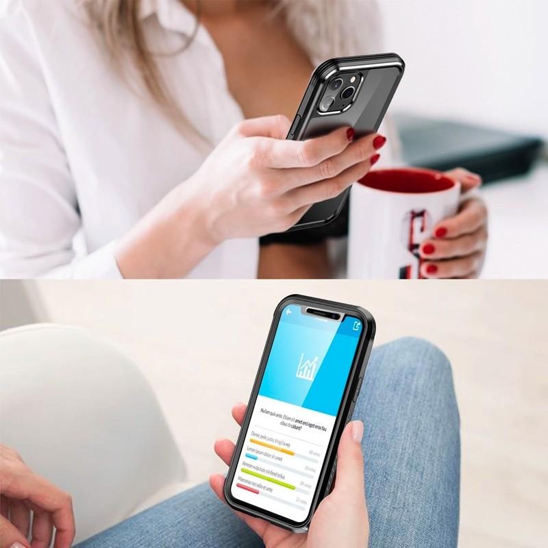 Mobiq Rugged 360 Graden Full Body Case iPhone 12 Pro Max Transparant - 2