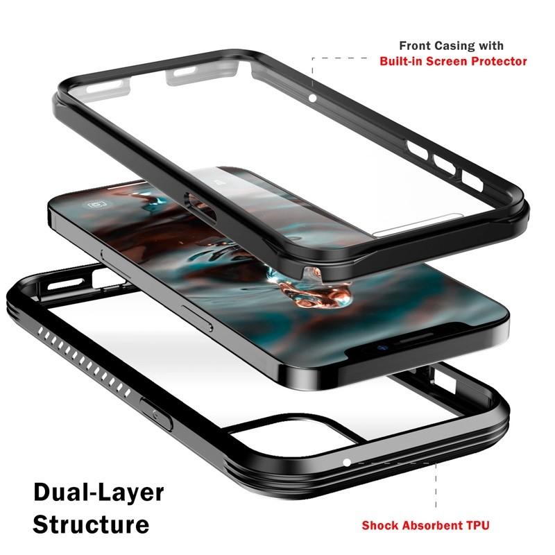 Mobiq Rugged 360 Graden Full Body Case iPhone 12 Pro Max Transparant - 5