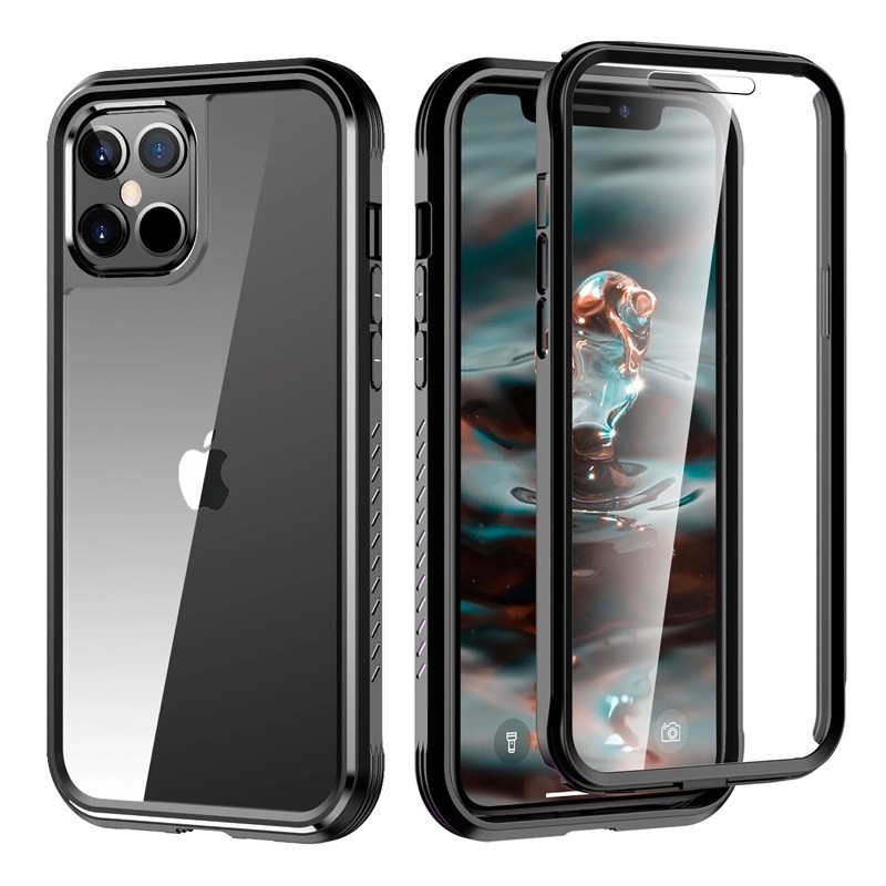 Mobiq Rugged 360 Graden Full Body Case iPhone 12 Pro Max Zwart - 1