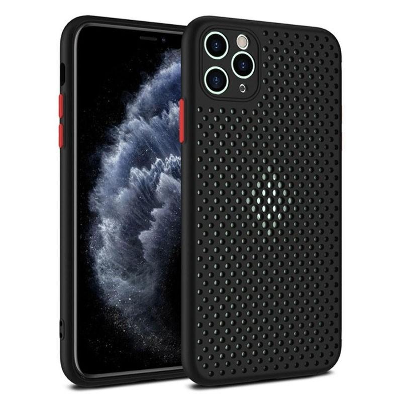 Mobiq - Geperforeerde TPU Case iPhone 12 / 12 Pro 6.1 inch Zwart - 1