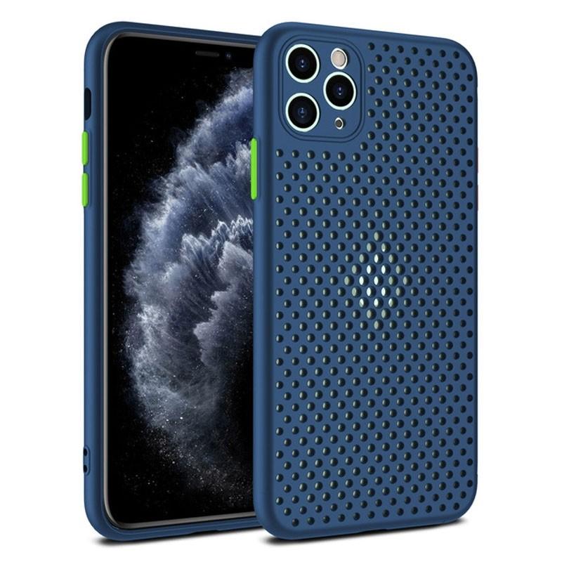 Mobiq Geperforeerd TPU Hoesje iPhone 12 Mini Blauw - 1