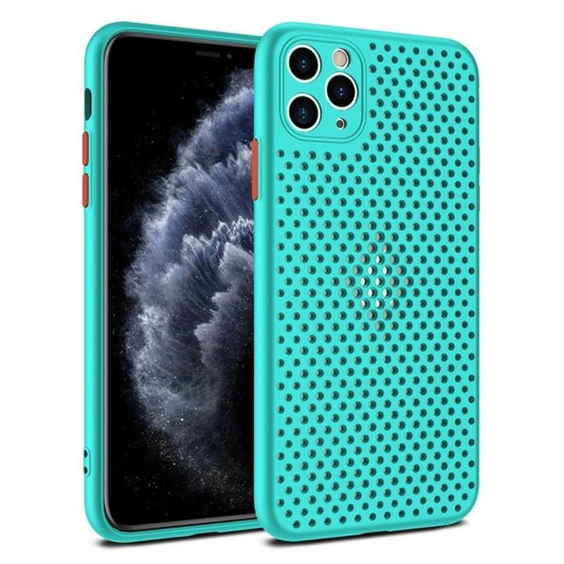 Mobiq Geperforeerd TPU Hoesje iPhone 12 Mini Turqoise - 1