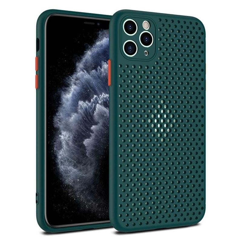 Mobiq - Geperforeerde TPU Case iPhone 12 Pro Max Donkergroen - 1