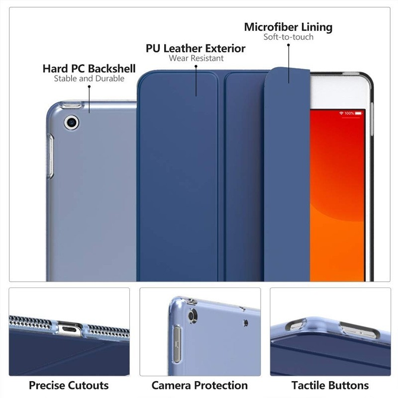 Mobiq Hard Case Folio Hoes iPad 9.7 inch (2017/2018) Goud - 3