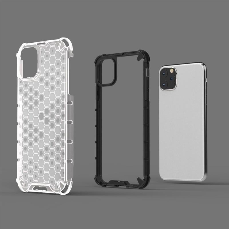 Mobiq honingraat armor hoesje iPhone 11 grijs - 4