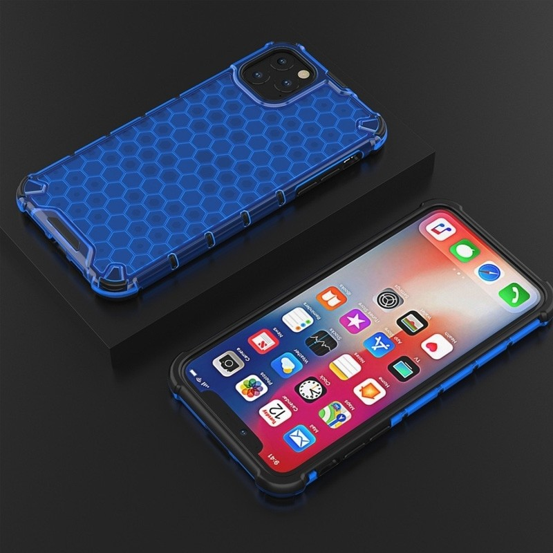 Mobiq honingraat armor hoesje iPhone 11 Pro blauw - 4