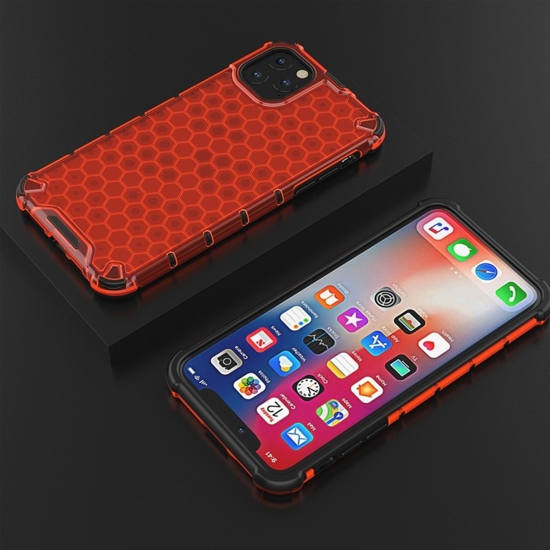 Mobiq honingraat armor hoesje iPhone 11 Pro Max rood - 5