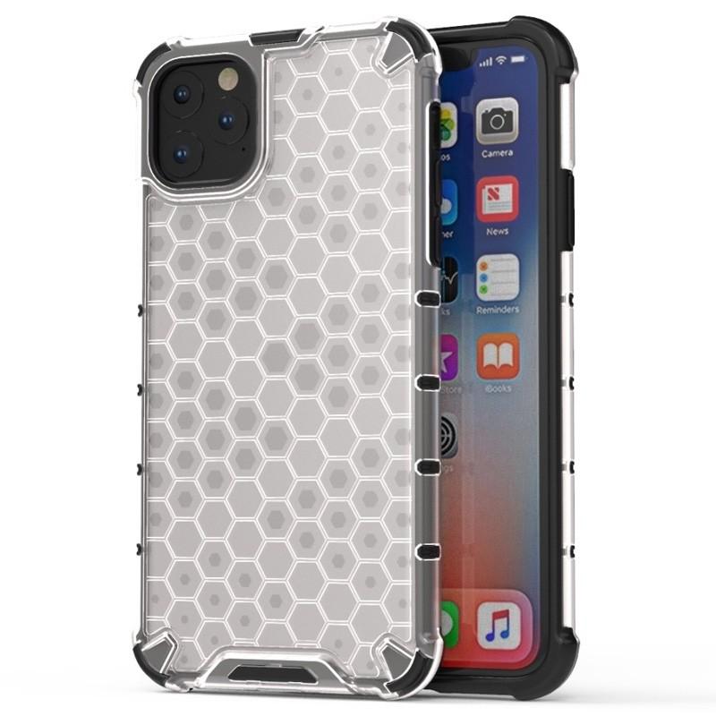 Mobiq honingraat armor hoesje iPhone 11 Pro Max transparant - 1