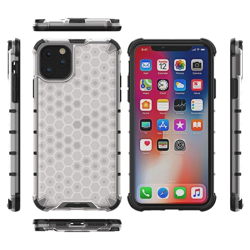 Mobiq honingraat armor hoesje iPhone 11 transparant - 3