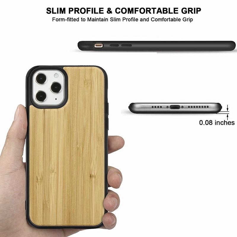 Mobiq - Houten Hoesje iPhone 13 Mini Bamboe - 2
