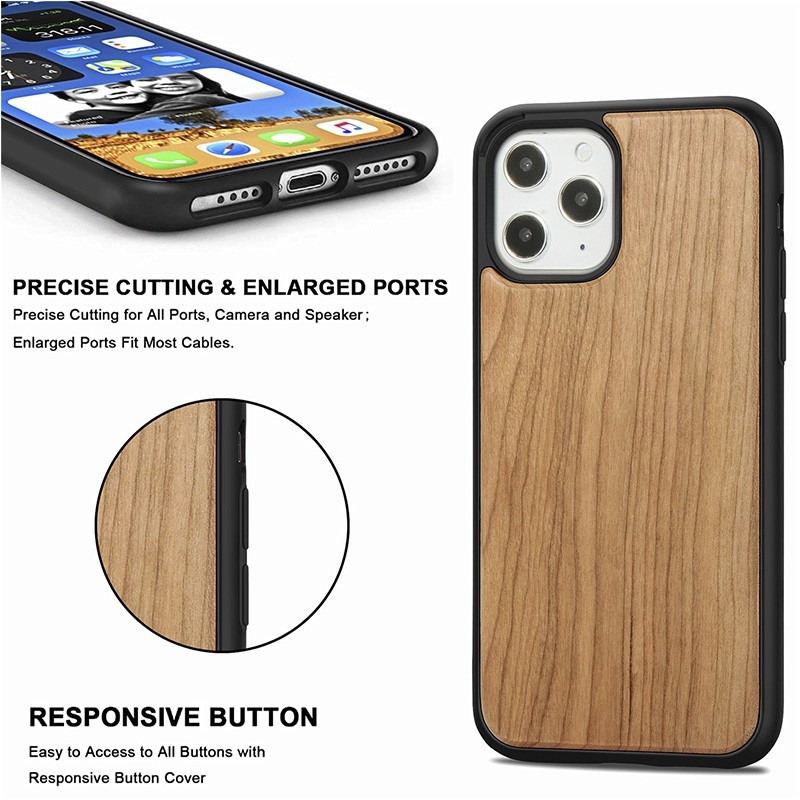 Mobiq - Houten Hoesje iPhone 13 Mini Kersen - 4
