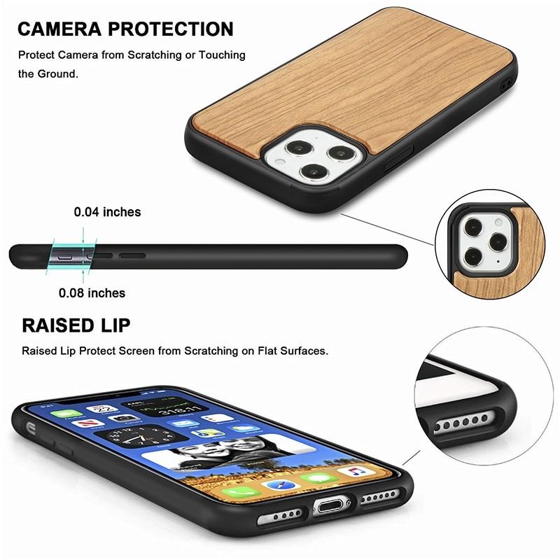 Mobiq - Houten Hoesje iPhone 13 Mini Kersen - 6