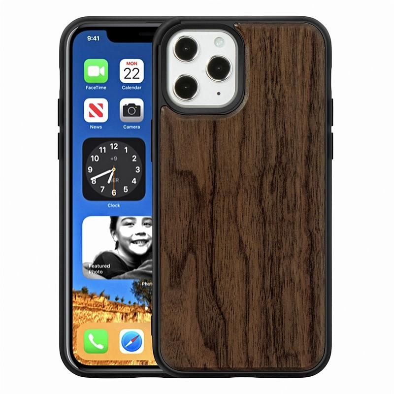 Mobiq - Houten Hoesje iPhone 13 Mini Walnoot - 1