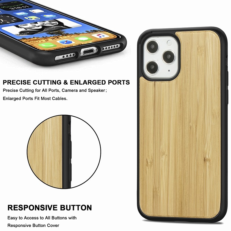 Mobiq - Houten Hoesje iPhone 13 Pro Bamboe - 4