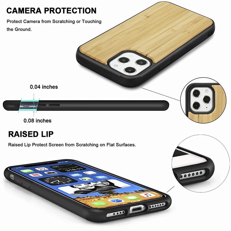 Mobiq - Houten Hoesje iPhone 13 Pro Bamboe - 6