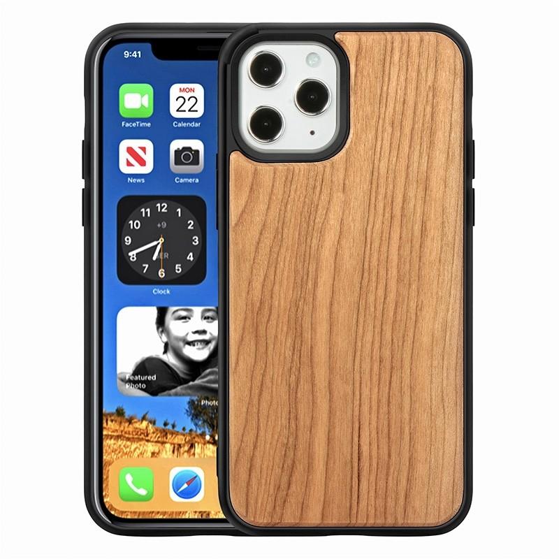 Mobiq - Houten Hoesje iPhone 13 Pro Kersen - 1