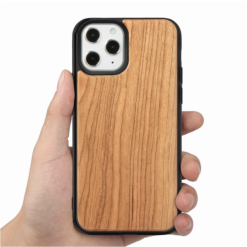 Mobiq - Houten Hoesje iPhone 13 Pro Max Kersen - 7